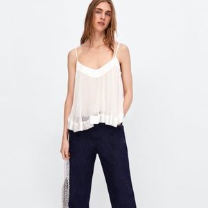 Zara dot pleated top